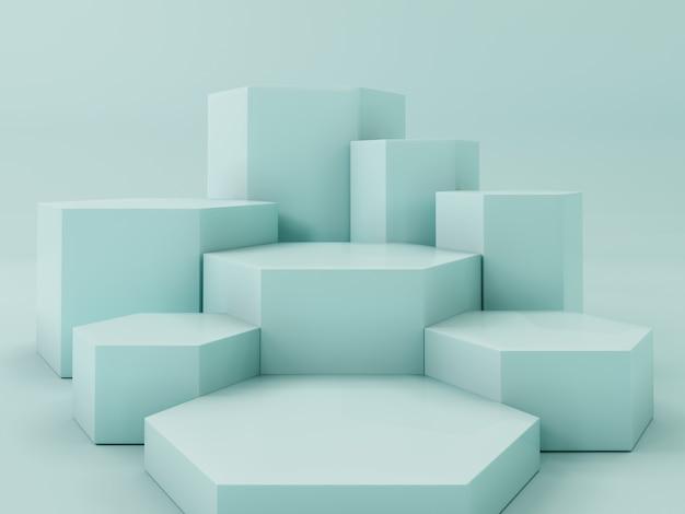 Podio de visualización de producto de color verde claro, fondo abstracto