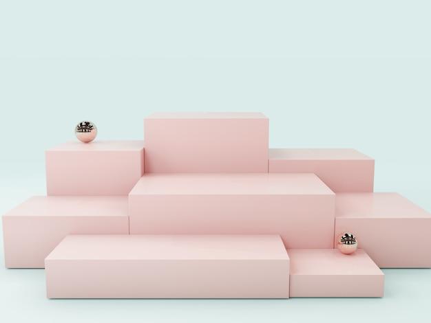 Podio de visualización de producto rosa, fondo abstracto