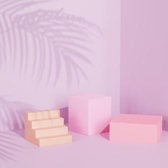 Podios cuadrados sobre superficie rosa pastel con sombra de hojas tropicales