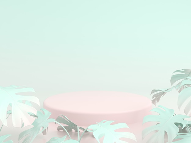 Podios para mostrar producto con fondo de color degradado y hojas de palmera