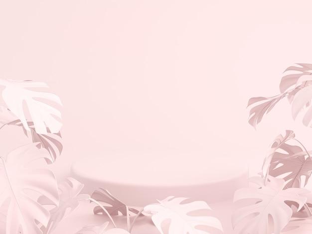 Podios para mostrar producto con fondo de color rosa y hojas de palmera