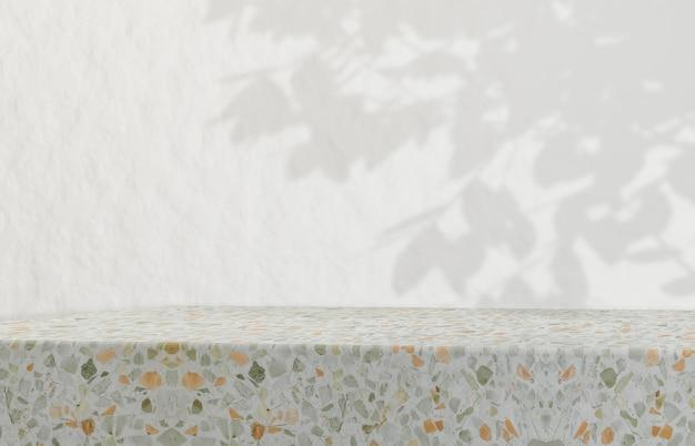 Poduim de belleza natural para exhibición de productos cosméticos. fondo de belleza de moda con textura de terrazo.
