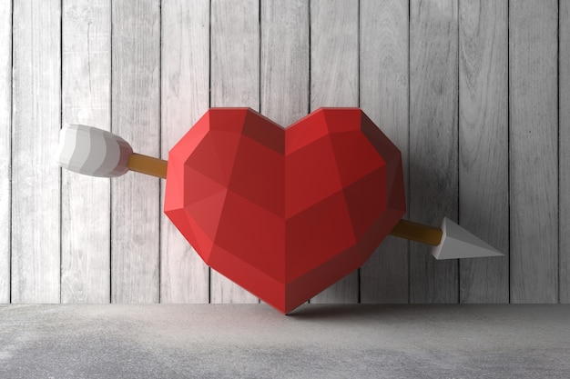 Bajo poli corazón en la pared. representación 3d