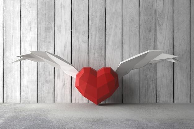 Bajo poli corazón. representación 3d