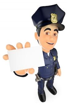 Policía 3d con una tarjeta en blanco