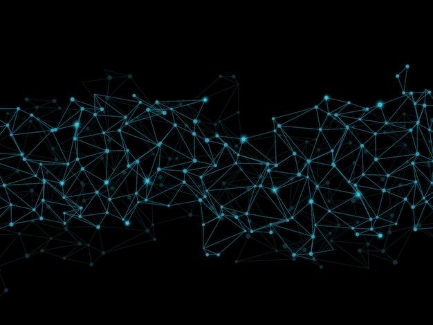 Polietileno baja abstracto con líneas y puntos de conexión