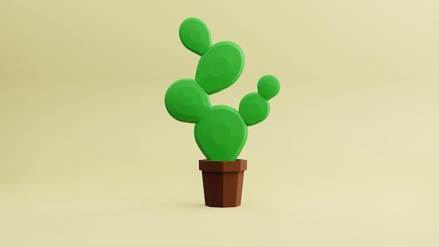 Bajo polígono bajo cactus