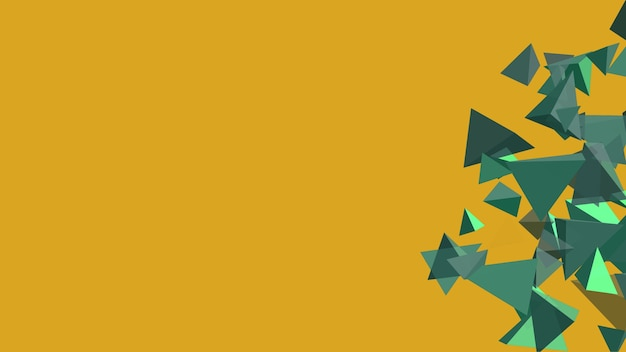 Polígono tetraedro abstracto marea verde movimiento lento y flotando sobre fondo de oro fortuna