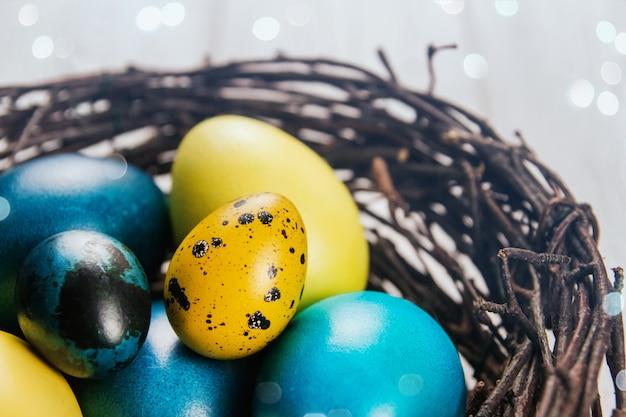 Pollo azul y amarillo y huevos de codorniz en un nido de pájaro. huevos de pascua