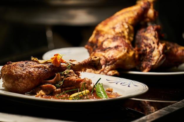 Pollo delicioso y frito de cerca