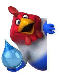 Pollo divertido ilustración 3d