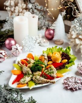 Pollo hervido con verduras