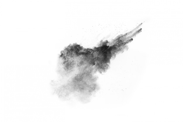Polvo negro abstracto splatted sobre fondo blanco.