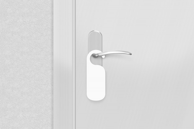 Pomo de puerta con colgador en blanco