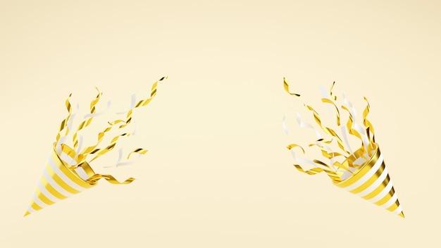 Popper de fiesta de oro con confeti volador sobre fondo con espacio de copia ilustración de render 3d. el petardo dorado explota con serpentina para sorpresa o concepto ganador: pancarta de aniversario de cumpleaños.