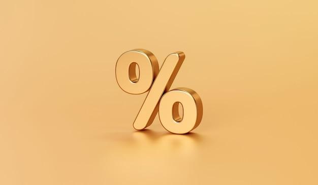 Porcentaje de oro o símbolo de signo de porcentaje de impuesto empresarial en oro