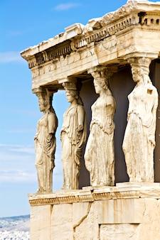 Porche erechtheum con las estatuas de cariátides, atenas grecia