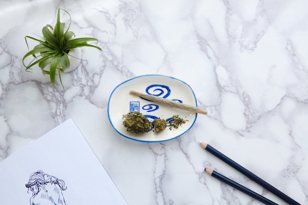 Porro de marihuana thc cbd y flores en cenicero con ilustración desnuda en el bloc de dibujo