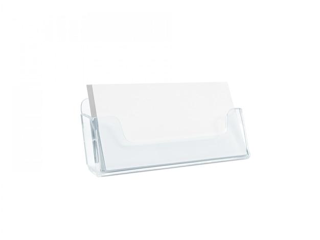Porta tarjetas blanco aislado