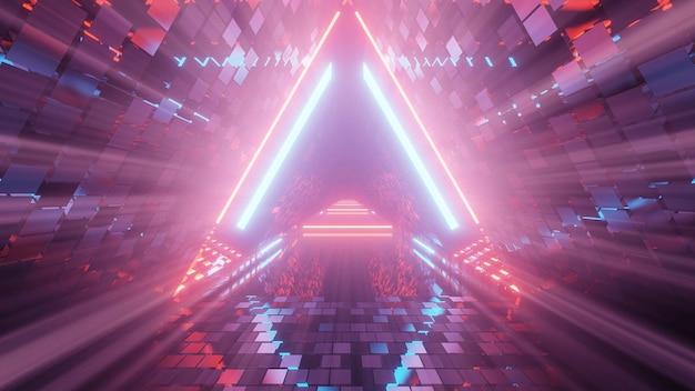 Portal de hermosas luces de neón con brillantes líneas púrpuras y azules en un túnel