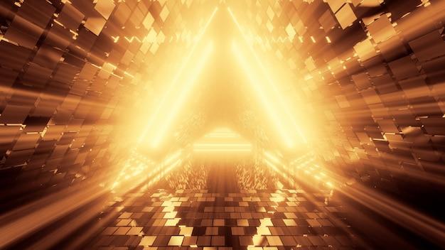 Portal de hermosas luces de neón con líneas naranjas brillantes en un túnel