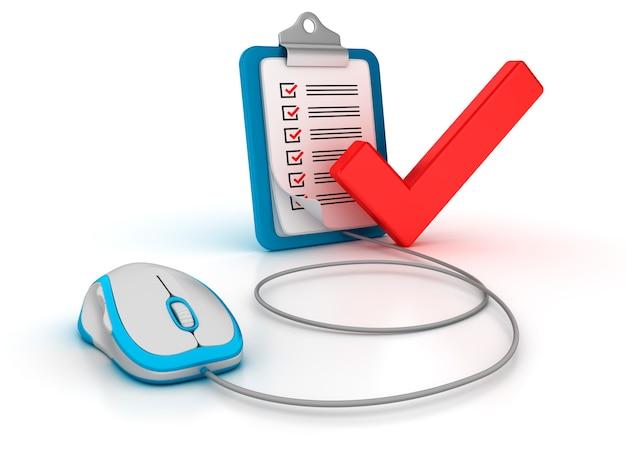 Portapapeles 3d con marca de verificación y mouse de computadora