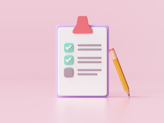 Portapapeles blanco con lista de verificación sobre fondo rosa. ilustración de render 3d.