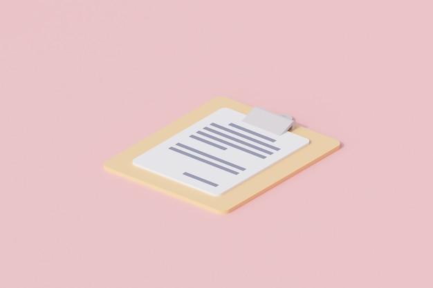 Portapapeles con documento en papel único objeto aislado. representación 3d