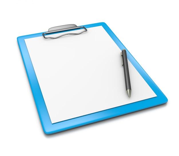 Portapapeles con papel en blanco y bolígrafo