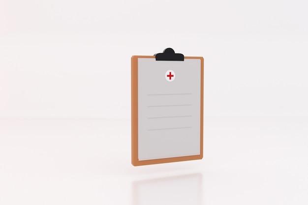Portapapeles de salud médica sobre fondo blanco.