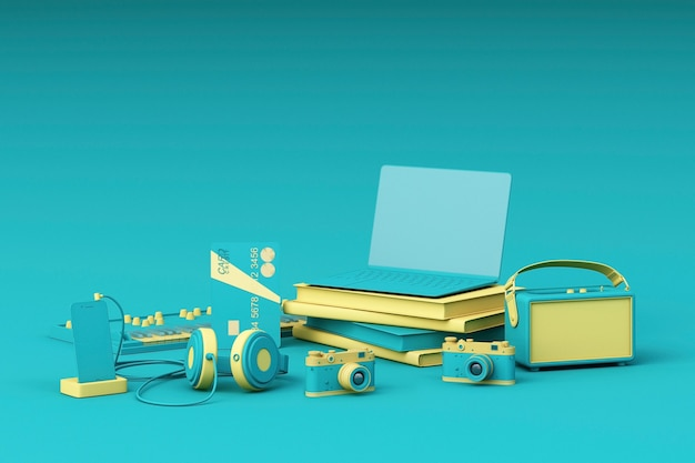 Portátil rodeado de gadgets de colores sobre fondo verde. representación 3d