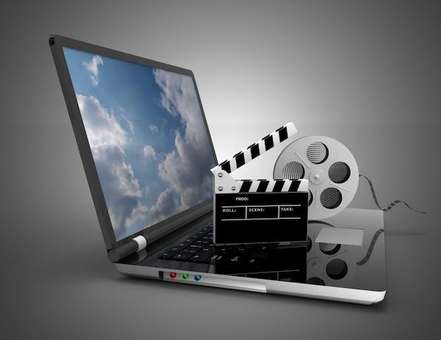Portátil con rollo de película. ilustración 3d