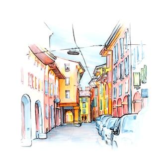 Pórtico de la calle medieval con casas de colores brillantes en el casco antiguo en el día soleado, bolonia, emilia-romaña, italia. delineador y marcadores de boceto