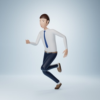 Pose de ejecución de personaje de dibujos animados de empresario aislado