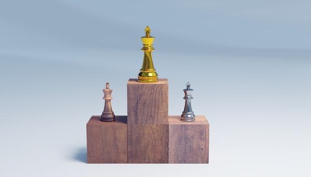 Posición ganadora del ajedrez de reyes, concepto de éxito empresarial, renderizado de ilustraciones 3d