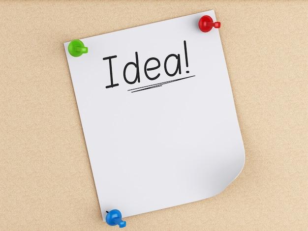 Post-it 3d con pasador sobre corcho. concepto de negocio
