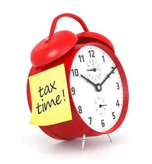 Post-it de tax time y despertador rojo. representación 3d