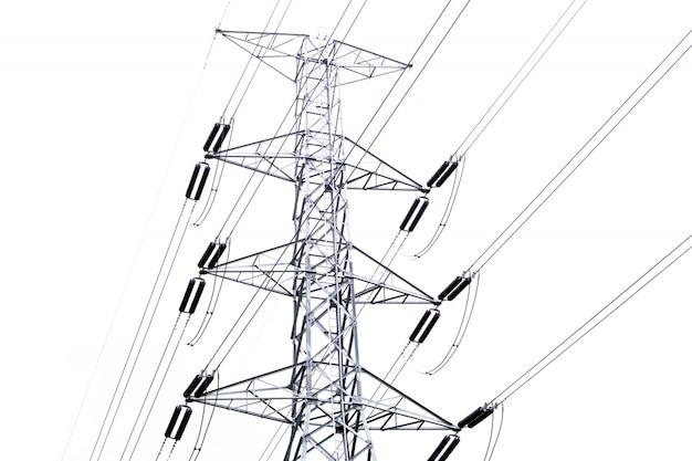 Poste eléctrico de alta tensión y cable eléctrico.