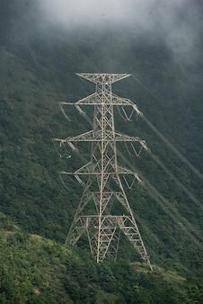 Poste eléctrico de alto voltaje en el bosque