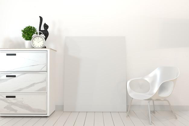 Póster de granito en gabinete y frame.3d rendering.