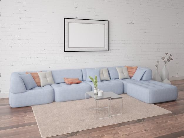 Póster sala de estar con un elegante sofá en el fondo de la pared de ladrillo