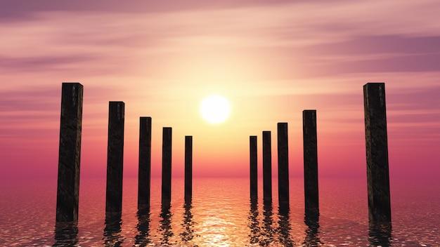 Postes de madera 3d en el océano contra un cielo al atardecer