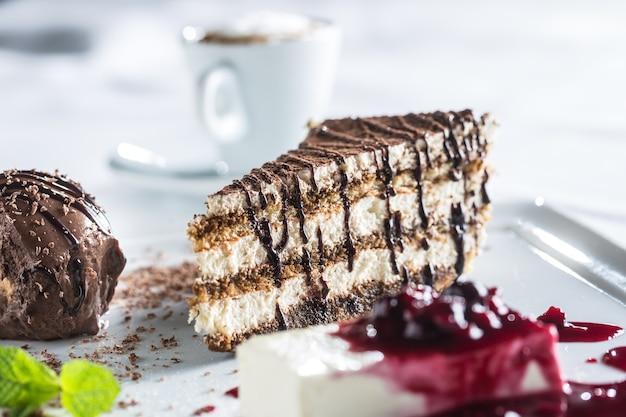 Postre italiano titamisu con pana cotta chocolate profiteroll menta hierba y café.