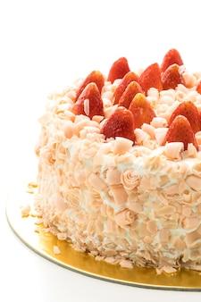 Postre de pastel de vainilla con fresa en la parte superior