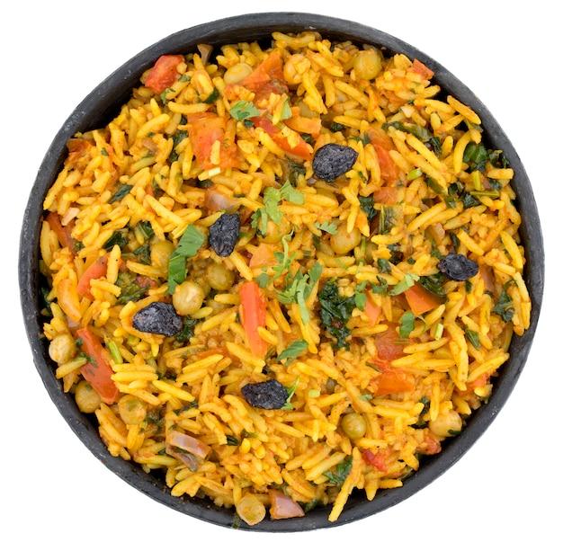 Postre tradicional indio veg biryani