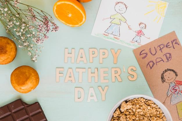 Postres e imágenes en torno a la escritura feliz del día del padre