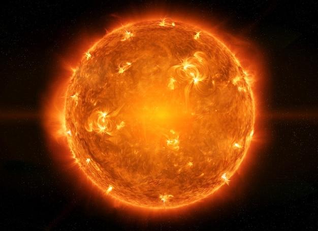 Potente sol en el espacio