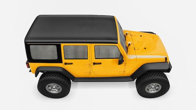Potente suv afinado en amarillo para expediciones en montañas, pantanos, desierto y cualquier terreno accidentado. ruedas grandes, suspensión de elevación para obstáculos empinados. representación 3d.