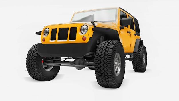 Potente suv amarillo sintonizado para expediciones en montañas, pantanos, desierto y cualquier terreno accidentado. ruedas grandes, suspensión de elevación para obstáculos empinados