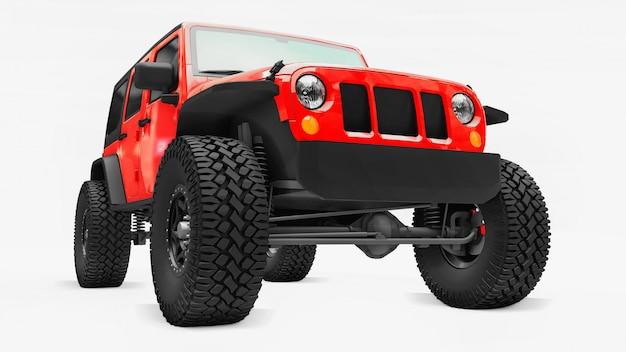 Potente suv rojo sintonizado para expediciones en montañas, pantanos, desierto y cualquier terreno accidentado. ruedas grandes, suspensión de elevación para obstáculos empinados. representación 3d